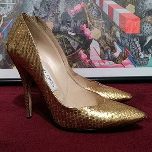 Jimmy Choo London Gold Snakeskin High Heels